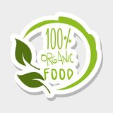 One hundred percent organic food message. Vector illustration Stock Photos