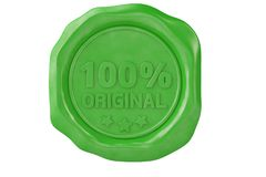 One hundred percent original green wax seal.3D illustration. One hundred percent original green wax seal. 3D illustration Royalty Free Stock Photography
