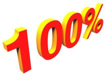 100 %, one hundred percent. One hundred percent over white background Royalty Free Stock Photography