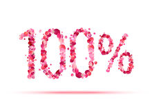 100 one hundred percent. Pink rose petals. Vector symbol Royalty Free Stock Images