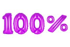 100 one hundred percent, purple color. Purple alphabet balloons, 100 one hundred percent, purple number and letter balloon Stock Image