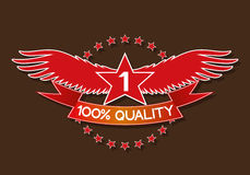 One hundred percent quality. Vector red sign. One hundred percent quality Vector Illustration