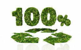One hundred percent recyclable. A view of a recycling symbol with the writing 100% behind it, all of them covered by grass and flowers, lie on a white background Stock Illustration