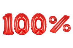 100 one hundred percent, red color Stock Photo