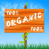 One Hundred Percent Shows Organic Products And Completely Stock Photos