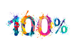 100 one hundred percent. Splash paint watercolor Stock Image