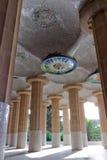 One hundred pillars. Ceiling of the common-room one hundred pillars park Guell in Barcelona - Spain stock photos