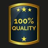 One hundred quality label. On black background, vector illustration Stock Image