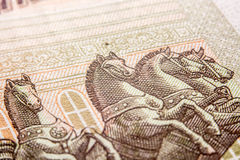 One hundred ruble bill, horses stock image
