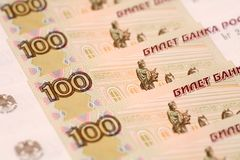One hundred rubles Stock Photos