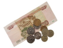 One hundred rubles. A hundred Russian rubles and iron coins on a white background Stock Image
