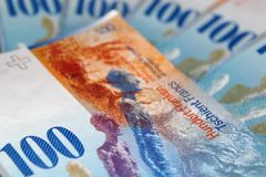 One hundred swiss francs Stock Photos