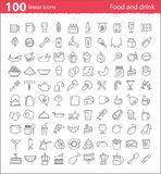 One hundred thin line food and drink icons Stock Images