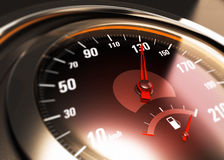 One Hundred Thirty, 130 Km per Hour, Car Speed Concept. Close up of a car speedometer with the needle pointing 130 Km h, blur effect, conceptual image for speed Stock Image