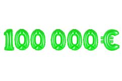 One hundred thousand euros, green color. One hundred thousand euros, green number and letter balloon Stock Image