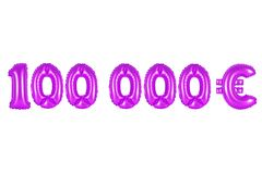 One hundred thousand euros, purple color. Purple alphabet balloons, one hundred thousand euros, purple number and letter balloon Royalty Free Stock Image