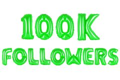 One hundred thousand followers, green color Stock Images