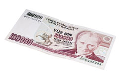 One hundred thousands  liras banknotes 1990s. One hundred thousands  liras banknotes  old turkish lira around 1990s Royalty Free Stock Image