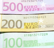 One hundred, two hundred and five hundred euro bills closeup. Shallow focus. Stock Photography