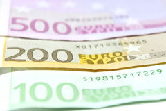 One hundred, two hundred and five hundred euro bills closeup. Shallow focus. Royalty Free Stock Photography