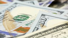 One hundred US banknotes. Cash. hundred dollar, 100 dollar stock footage