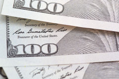 One hundred US dollars banknotes Stock Images