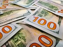 One hundred US dollars banknotes. Macro. Color image of dollars. Reverse side of the banknote royalty free stock photos