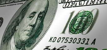 One hundred USA dollars.Background. From banknote Stock Photography