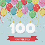 One hundred years anniversary greeting card with candles. Confetti and balloons Royalty Free Stock Image