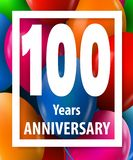 One hundred years anniversary. 100 years. Greeting card or banner concept. Vector illustration royalty free illustration
