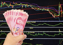 One hundred yuan bill on stock market background. Royalty Free Stock Images