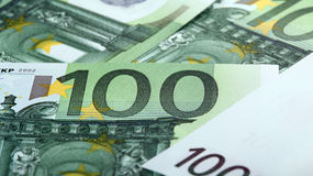 One hundredth euro banknotes Stock Image