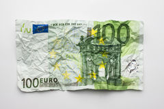 One hundret euro bill , wrinkled 100 euro bill isolated on white Royalty Free Stock Photo