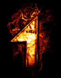 One, illustration of  number with chrome effects and red fire on. Black Stock Image
