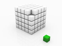 One individuality green cube Royalty Free Stock Photography