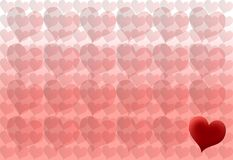 One ine a million. Hearts background with one different heart royalty free stock images