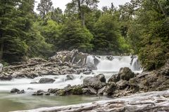 Waterfall of the Los Novios in the Puyehue national park in Chilean Patagonia royalty free stock photo