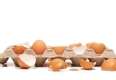 One intact egg. In container with broken ones Stock Photography
