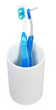One interdental and tooth brushes in ceramic glass Stock Photography