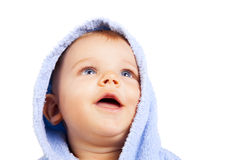 One isolated baby boy looking up Stock Photos