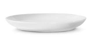 One Isolated White Porcelain Plate Rotated Stock Image
