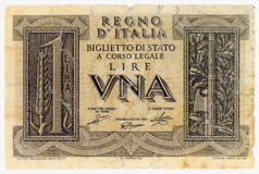 ONE ITALIAN LIRE. One very old Italian Lire in paper money Royalty Free Stock Photography