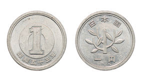 One japanese yen coin front and back faces Royalty Free Stock Images