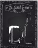 One jug with foam and beer bottle Stock Photography