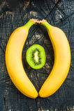 One Juicy kiwi with bananas Stock Photo