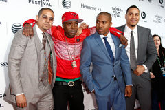 One9, Jungle, Nas, Erik Parker. NEW YORK-APR 16 2014: (L-R) One9, Jungle, Nas and Erik Parker attend the world premiere of Time Is Illmatic at the 2014 TriBeCa Royalty Free Stock Photography
