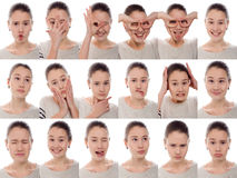 One kid - many emotions. Young beautiful girl with many emotions stock photo