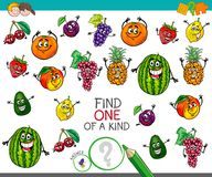 One of a kind activity with fruit characters Stock Photos