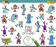 One of a kind activity game. Cartoon Illustration of Find One of a Kind Educational Activity Game for Children with Fantasy Characters Royalty Free Stock Images