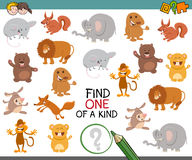 One of a kind activity for kids. Cartoon Illustration of Find One of a Kind Educational Activity Game for Preschool Kids with Animals Stock Image